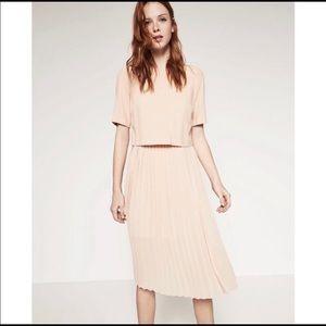 Zara Peach Blush Pleated Midi Dress XS